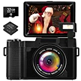 Camara Fotos Full HD 2.7K 30 MP Camara de Fotos con Pantalla Abatible Camara Fotos Compacta Recargable con Tarjeta SD y 2...